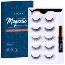 KRONA Magnetic Eyelashes With Eyeliner Kit - 1 Tube Of Magnetic Eyeliner & 5 Pairs Of Reusable Falsies With Tweezer - Natural Long Full & Dramatic Looking Eyelashes Set - No More Glue Easy To Wear