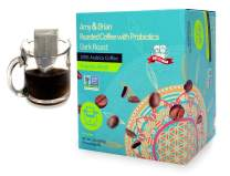 Amy & Brian Single-Serve Pour Over Drip Coffee Packets + Probiotic - 10 Single Serve Pouches (Dark Roast) | Single Cup Pour Over Coffee