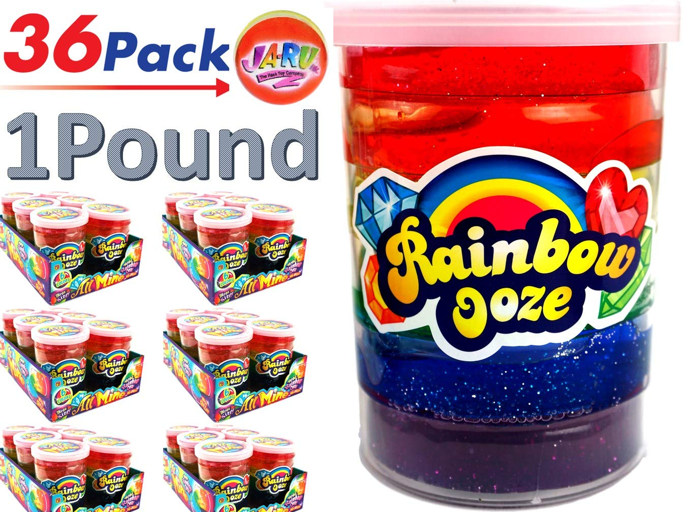JA-RU Mega Rainbow Slime Kit 1 Pound Neon Glitter Colors (Pack of 36) Unicorn Party Girls Game. Slime Squishy and Stretchy. Arts and Crafts for Girls Party Favor Toy Supplies | Item #4636-36p