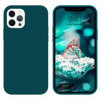 """GUAGUA Compatible for iPhone 12 Pro Max Case 6.7"""" 5G Liquid Silicone Soft Gel Rubber Slim Thin Microfiber Lining Cushion Texture Cover Protective Phone Cases for iPhone 12 Pro Max 2020 Teal"""