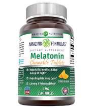 Amazing Formulas Melatonin Chewable 5 mg 250 Tablets Non GMO -Helps Regulate Sleep Cycle* -Calming & Relaxing Effect* (Citrus Flavor)