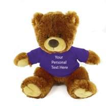 Plushland Honey Noah Teddy Bear 12 Inch, Stuffed Animal Personalized Gift - Custom Text on Shirt - Great Present for Mothers Day, Valentine Day, Graduation Day, Birthday (Purple Shirt)