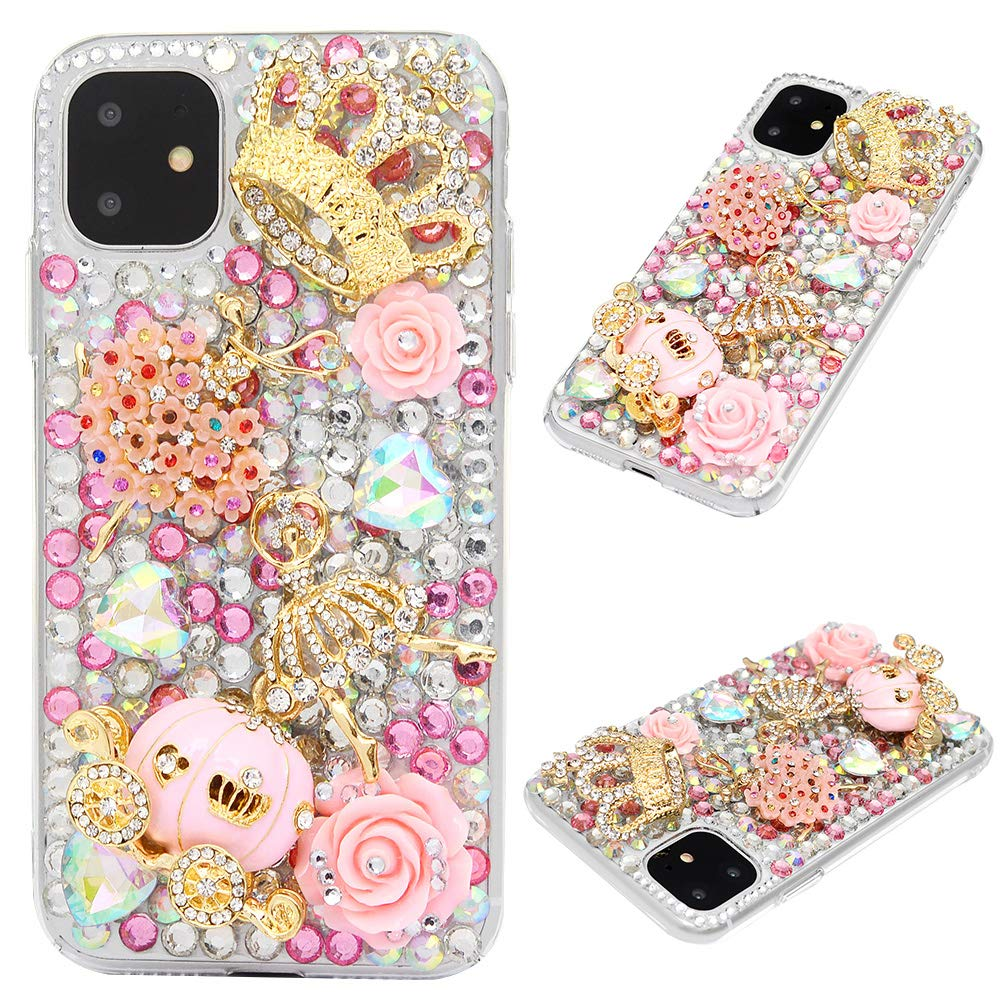 Mavis's Diary iPhone 11 Case, 3D Handmade Luxury Bling Pink Pumpkin Carriage and Rose Flower Golden Floral Crown Shiny Diamonds Glitter Rhinestones Gems Clear Hard PC Cover