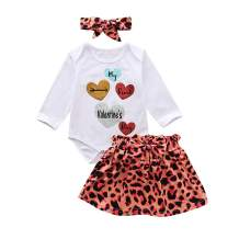 First Valentine's Day Skirts Sets Toddler Baby Girl Sister Matching Romper Leopard Dress Spring Outfits Clothes 3PCS