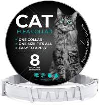 Flea and Tick Prevention for Cats - One Size Fits All - Waterproof Best Protection and Adjustable - 8 Month Essential Natural Herbal Oil - Gray