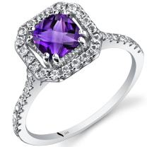 14K White Gold Amethyst Cushion Cut Halo Ring 0.75 Carats Sizes 5 to 9