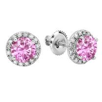 Dazzlingrock Collection 18K Round 6 MM Each Lab Created Gemstone & White Diamond Halo Stud Earrings, White Gold