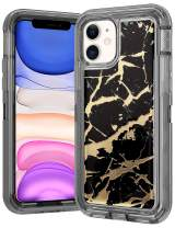 Wollony foriPhone 11 Case Marble Gold Glitter Girly Sparkle 3 in 1 Heavy Duty Hybrid Impact Resistant Shockproof Hard Bumper Non-Slip Soft Rubber Protective Cover for iPhone 11 6.1inch Black