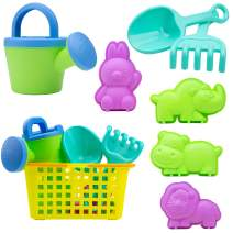 USA Toyz Beach Toys for Toddlers - 8pk Sandbox Toys for Kids with Basket, Animal Sand Molds, Beach Shovel, Sand Tools