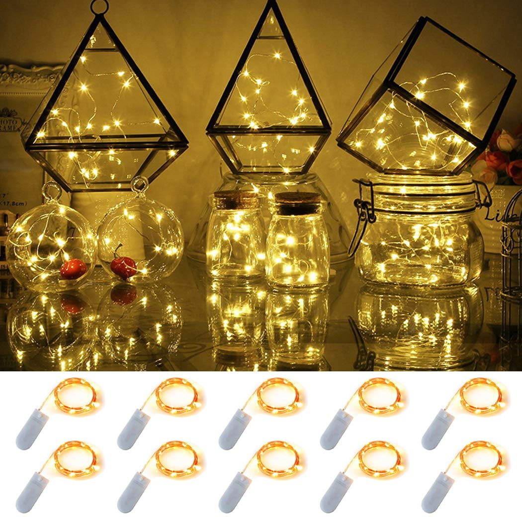 10 Pack 6.6 ft Fairy Light 20 LED Battery Operated Fairy String Lights Waterproof Copper Wire Starry String Lights Mason Jar Lights Firefly Lights for DIY Wedding Party Christmas Decor (Warm White)