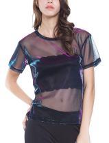Holographic Mesh Shirt Metallic Shimmer See Through Shiny Top for Women