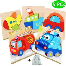 Dinana Wooden Jigsaw Puzzles for Toddlers 1 2 3 4 Years Old, Educational Toys Gift with 5 Pcs Chunky Bright Vibrant Color Shapes Lovely Vehicle, Free Drawstring Bag for Easy Storage (Vehicle)