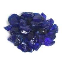High Luster Reflective Fire Glass Gravel,Fire Gems,Fire Drops,Fire Glass Pebbles Stones Beads Chips for Fire Pit Fish Tank Aquarium Garden,1-2cm,540g/1.19lb (Sapphire Blue)