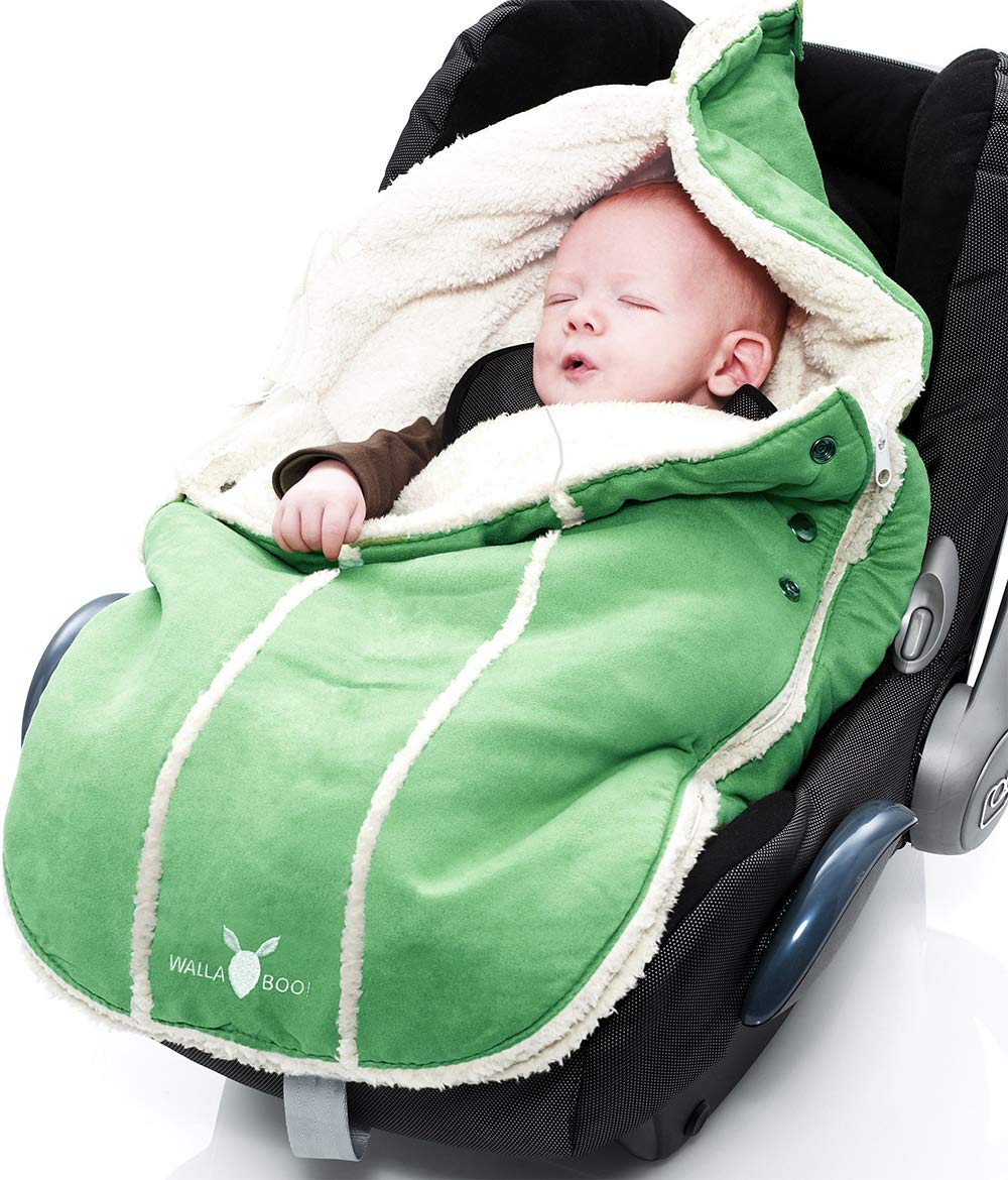 Wallaboo Baby Universal Bunting Bag, for Car Seat Stroller Pushchair, Footmuff Sack,  Luxurious suéde and soft faux sheerling, Newborn upto 12 months, Size: 84x50cm, Size: 33 x 20 inch, Color: Green