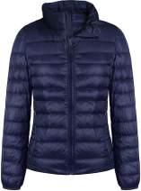 GEEK LIGHTING Women's Packable Ultra Light Weight Puffer Jacket Water-Resistant Hooded/Stand Collar