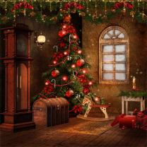 Laeacco 8x8ft Vinyl Backdrop Photography Background New Year Christmas Decorated Tree Toys Hobby Horse Gifts Ancient Clock Scene Children Portraits Backdrop TV Video Shoot Backdrop Studio Props