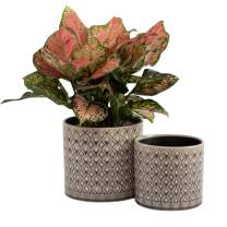 """KYY Ceramic Planters Garden Flower Pots 6.5"""" and 5.5"""" Set of 2 Indoor Outdoor Modern Plant Containers (Brown Grey Diamond Pattern)"""