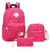 Aiduy School Backpack 3 Pack Canvas Bookbags with Shoulder Bag and Pencil Case for Girls (Rose Red)