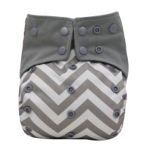 Baby Nappy Two Sides Pocket Bamboo Charcoal Cloth AIO Diaper, Sewn in Insert Double Gussets Ohbabyka