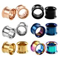 TOPBRIGHT Surgical Stainless Steel Double Flared Tunnels Expander Screw Ear Gauges Tunnels Plugs for Ear