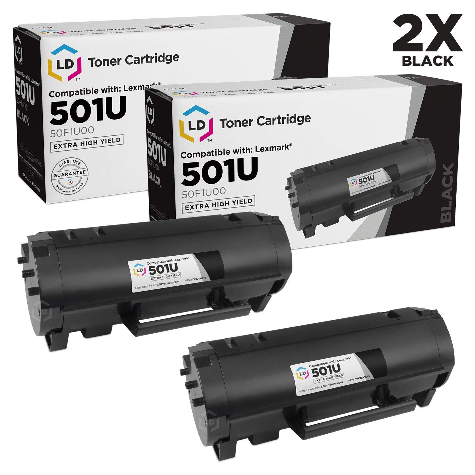 LD Compatible Toner Cartridge Replacement for Lexmark 501U 50F1U00 Ultra High Yield (Black, 2-Pack)