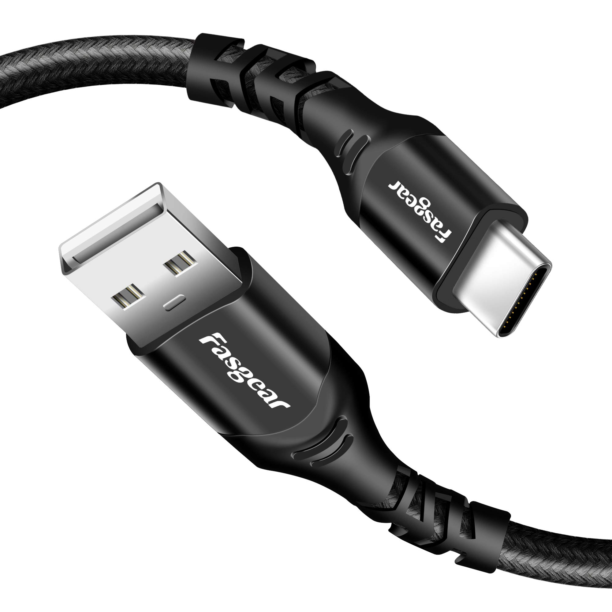 Fasgear USB-C to USB 2.0 Cable, 1 Pack 6ft USB Type C Nylon Braided USB C Fast Charging Cable Compatible with Moto G6 G7 Galaxy S10 S9 S8 A3 A5 Oneplus 7 7pro Sony Xperia L1 XA2 Huawei P30 (Black)