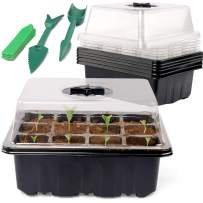 SHEEFLY 5 Set Seed Trays Seedling Starter Tray 60 Cells Humidity Adjustable Plant Starting Kit with Dome and Base Greenhouse Grow Trays Mini Propagator for Garden Seeds Growing with Hand Tools Labels