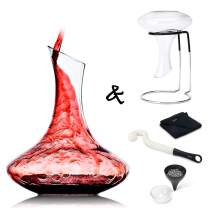 NEW! VOOV Contemporary Premium Decanter Cleaning Set with Glass Decanter, Drying Stand, Cleaning Beads, Cleaning Brush and Microfiber Drying Cloth (Black, 5 Piece Foldable)