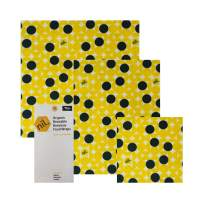 NIL beeswax food wrap - 3 pk reusable food wrap - no synthetic wax or chemicals - all organic and natural - holds up to a year - reusable beeswax food wraps with jojaba and manuka oil (Yellow dot)