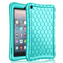 Fintie Silicone Case for All-New Amazon Fire 7 Tablet (9th Generation, 2019 Release) - [Honey Comb Series] [Kids Friendly] Light Weight [Anti Slip] Shock Proof Protective Cover, Turquoise