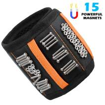 VSTM Magnetic Wristband with 15 Strong Magnets Armband Holder Tool Belt for Holding Screws, Nails, Drill Bits, Gift for DIY Handyman, Father/Dad, Husband, Boyfriend, Men, Women
