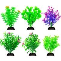 Bosmarlin Artificial Aquarium Plants Set, Plastic Fish Tank Decoration, 6 Pack, Non-Toxic&Soft, Safe for Fish (A) (A)