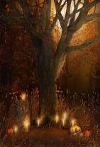 AOFOTO 5x7ft Scary Wilderness Background Gloomy Cemetery Photography Backdrop Pumpkin Candles Skull Vines Tree Moon Night Kid Girl Boy Child Portrait Autumn Halloween Photo Studio Props Wallpaper