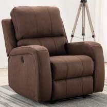 Bonzy Home Power Recliner Chair Air Suede - Overstuffed Electric Faux Suede Leather Recliner Chair with USB Charge Port - Home Theater Seating - Bedroom & Living Room Chair Recliner Sofa (Chocolate)