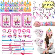 POKONBOY 136 Pack Unicorn Party Favors Supplies for Kids, Unicorn Gifts Bags, Masks, Rings, Bracelets, Keychains, and Tattoos Unicorn Novel Rainbow Gifts Toys Unicorn Birthday Party Favors Set Christmas