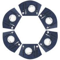 pigchcy Round Table Placemat Washable Easy to Wipe Clean Table Mat Vinyl Heat Resistant Placemats Set of 6 (Navy Blue)