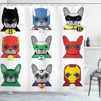 """Ambesonne Superhero Shower Curtain, Bulldog Superheroes Fun Cartoon Puppies in Disguise Costume Dogs with Masks Print, Cloth Fabric Bathroom Decor Set with Hooks, 84"""" Long Extra, White Green"""