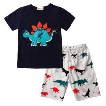 Boys Dinosaur Pajamas 100% Cotton Toddler Orange Dino Summer Shorts Set 2 Pieces Short Sleeve Pjs Sleepwear 2-8T