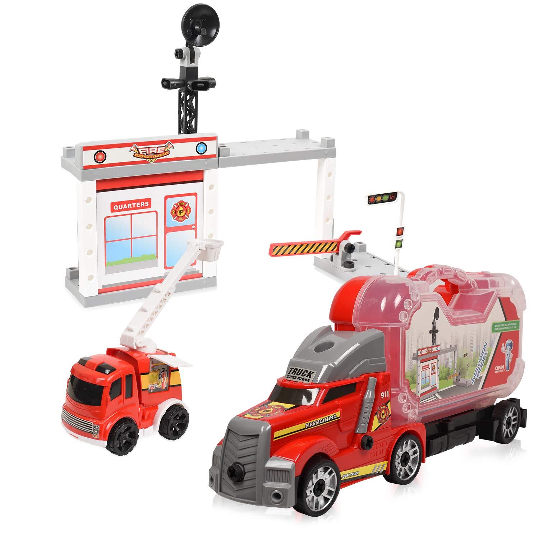 WolVol Take-A-Part Fire Station - Fireman Command Center Construction Playset w/ Screwdriver for Kids & Children