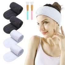 Spa Facial Headband - 4pcs Makeup Headband Stretch Head Wrap Terry Cloth Headband with 2 Facial Mask Brush Adjustable Towel for Washing face Bath and Sport