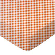 SheetWorld Fitted Portable / Mini Crib Sheet - Orange Gingham Check - Made In USA