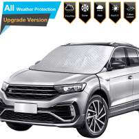 BruRkim Car Windshield Snow Ice Cover for Winter, Thicker Snow Protection Cover with 4 Layers Protection, Large Size Fits for Small Cars, Standard Pickup, SUV