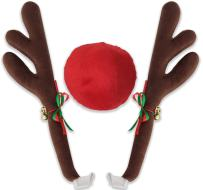 OxGord Car Reindeer Antlers & Nose - Window Roof-Top & Grille Rudolph Reindeer Jingle Bell Christmas Costume - Auto Accessories Decoration Kit Best for Car SUV Van Truck, Xmas Gift Set