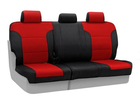 Coverking Rear 60/40 Bench Custom Fit Seat Cover for Select RAM 1500/Pickup Models - Spacer Mesh (Red with Black Sides)