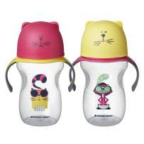 Tommee Tippee Natural Transition Soft Spout Sippy Cup, Girl - 12+ Months, 2pk, Pink & Yellow