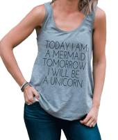 7 ate 9 Apparel Womens Today a Mermaid Tomorrow a Unicorn Funny Tank Top