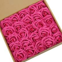 N&T NIETING Artificial Flowers Roses, 25pcs Real Touch Artificial Foam Roses Decoration DIY for Wedding Bridesmaid Bridal Bouquets Centerpieces, Home Display (Hot Pink)