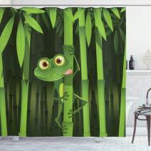 """Ambesonne Animal Shower Curtain, Funny Illustration of Friendly Fun Frog on Stem of The Bamboo Jungle Trees Nature, Cloth Fabric Bathroom Decor Set with Hooks, 84"""" Long Extra, Green Shades"""