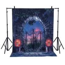 Lelinta Halloween Photography Backdrop,Night Spooky Pumpkins Lantern Background Dead Trees Haunted House Party Banner Halloween Photo Booth Backdrop