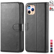 TUCCH iPhone 11 Pro Max Wallet Case, Magnetic Auto Wake Sleep RFID Protection Card Slots [TPU Shockproof Interior Case], PU Leather Stand Flip Cover Compatible with iPhone 11 Pro Max 6.5 inch, Black